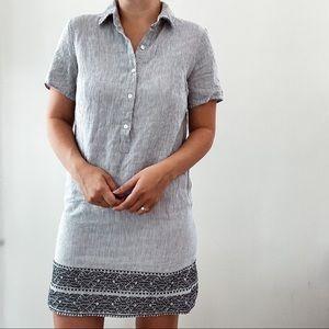 ARTISAN NY   Blue 100% Linen Striped Dress Sz XS